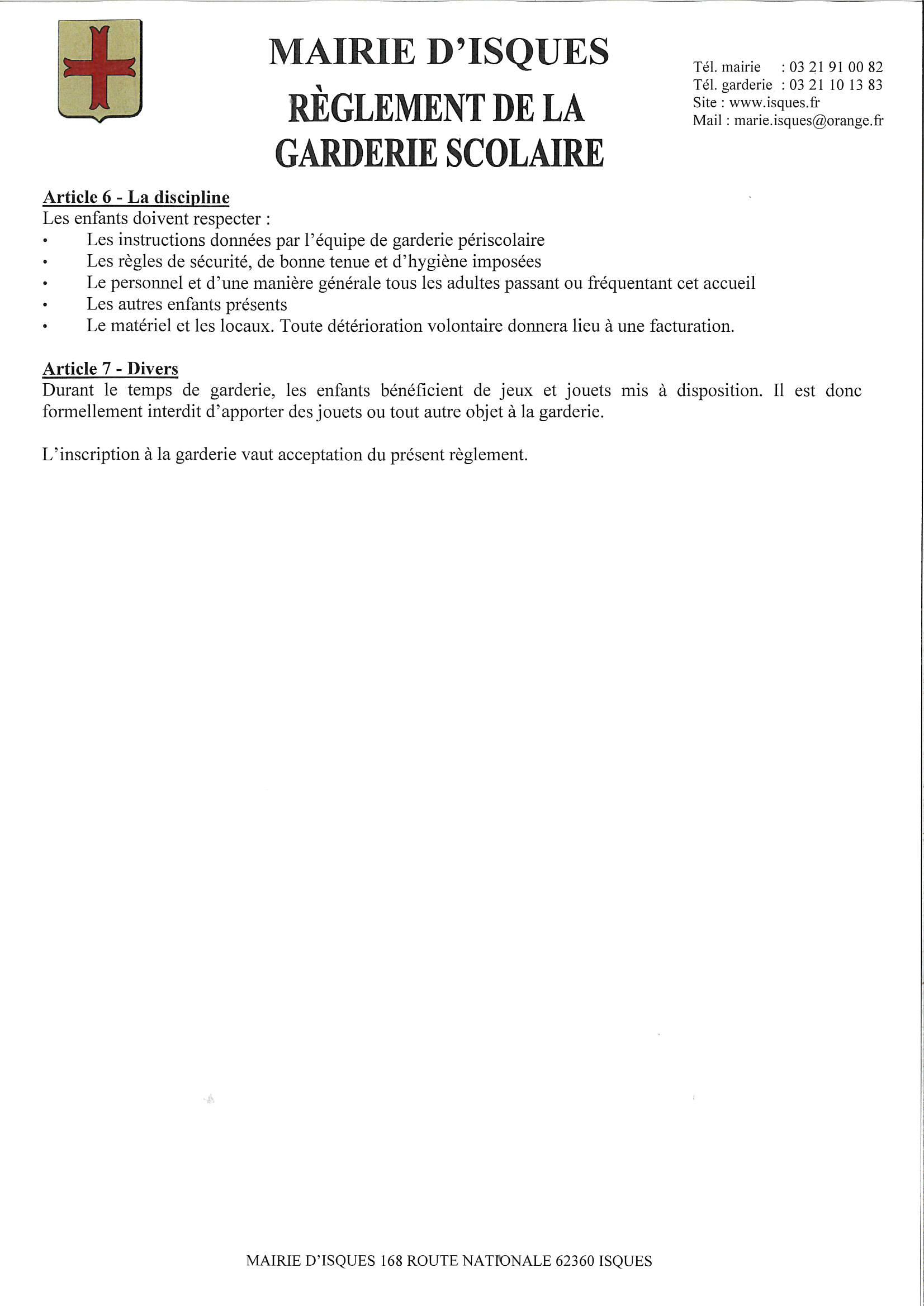 Règlement garderie scolaire p2