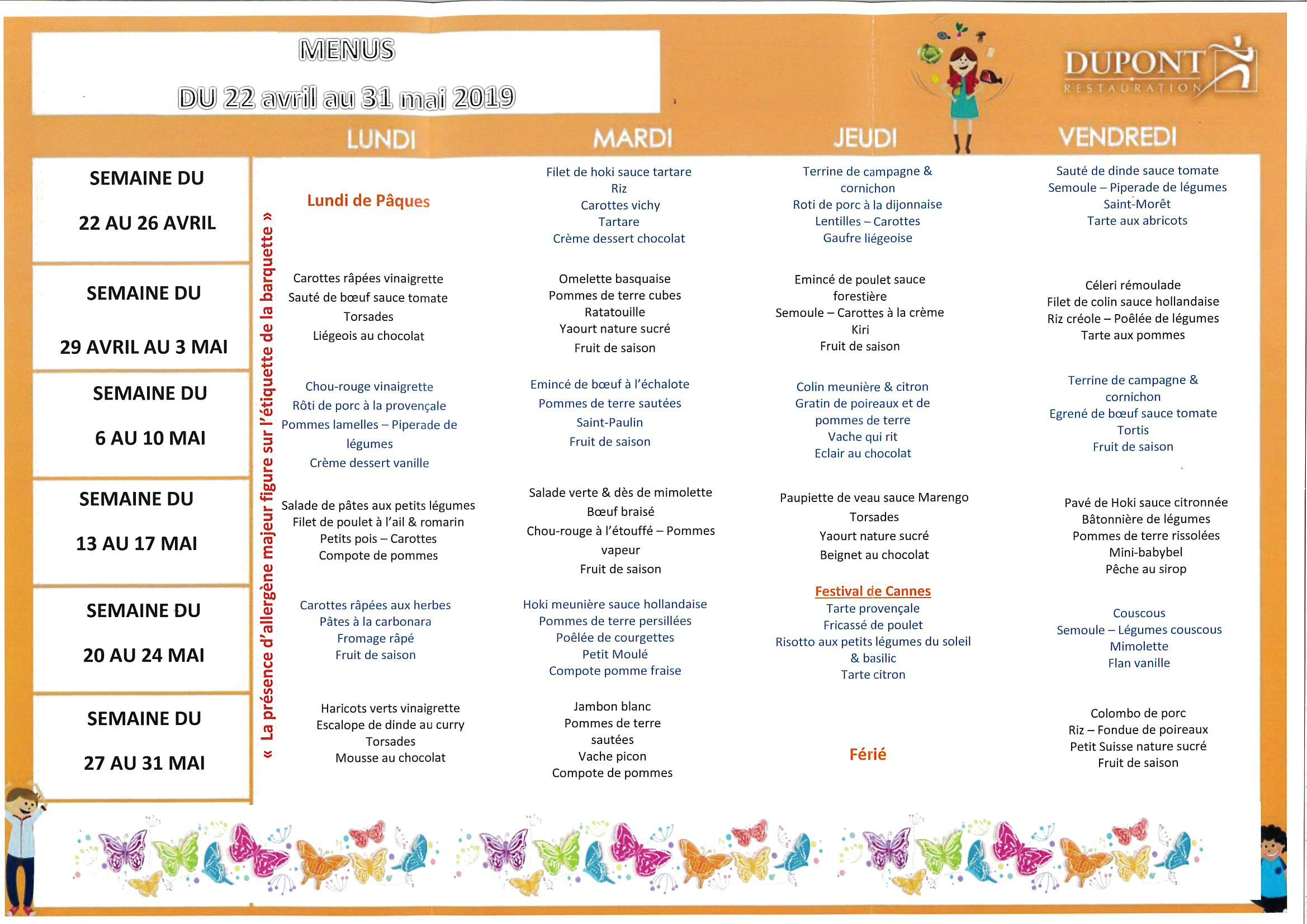 Menu cantine du 22 avril au 31 mai 2019