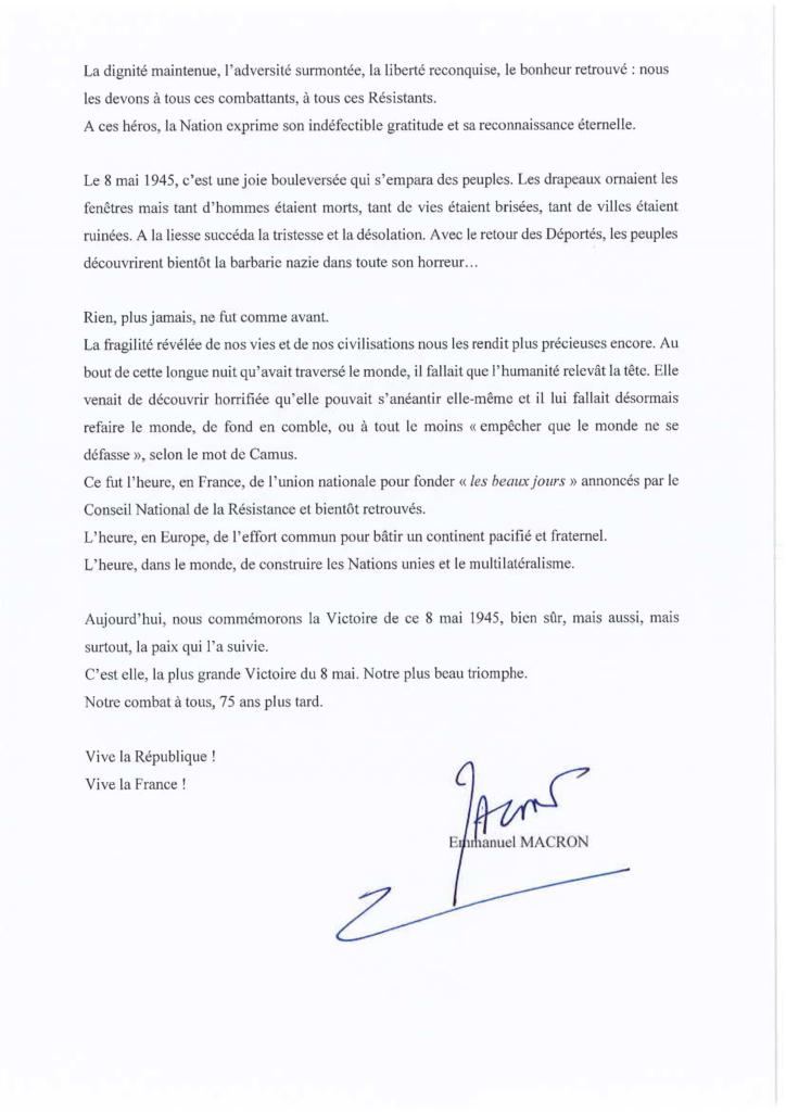 Message PR - 8 mai-2