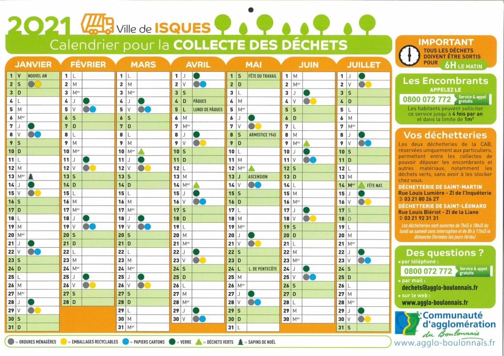 calendrier collecte janvier